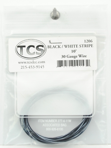TCS 10 FT BLACK w WHITE STRIPE 1206 #30 DECODER WIRE