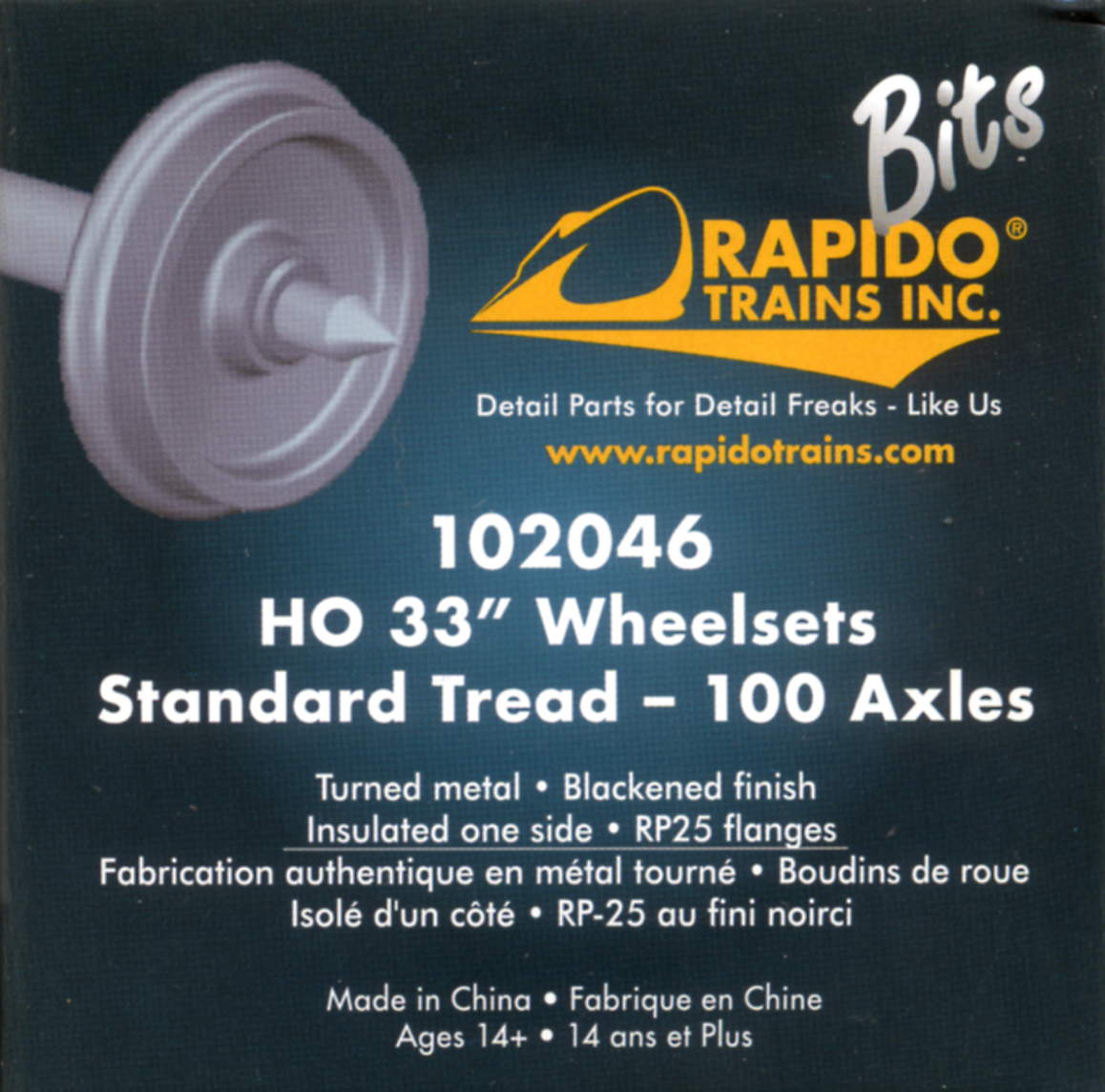 Rapido HO 33 inch Wheelsets 100 axles