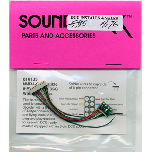SOUNDTRAXX 810135 9 PIN JST TO 8 PIN NMRA HARNESS